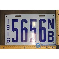 1916 NB Porcelain License Plate