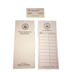 House of Cards - Francis J. Underwood business card & paperwork items