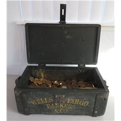 Wells Fargo-style Strong Box w/Faux Gold