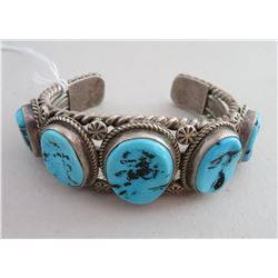 Navajo Sterling Silver & Turquoise Cuff