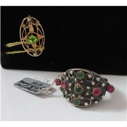 Emerald & Ruby Ring w/14K Pin