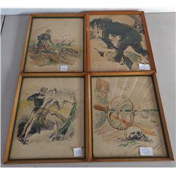 4 Old Watercolor Paintings