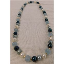 Aquamarine & Pearl Necklace w/14K Gold