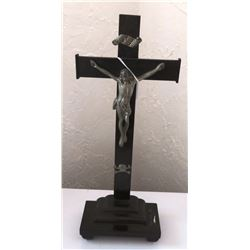Antique Metal Religious Crucifix on Stand