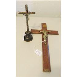 2 Antique Religious Crucifixes