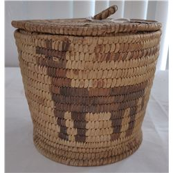 Antique Figured Papago Lidded Basket