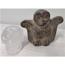 Pre-Columbian-style Crystal Skull + Bird Whistle