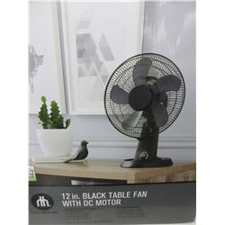 New Hometrends 12 inch black Table Fan with energy efficient DC Motor