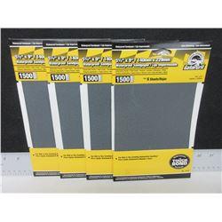 4 New packs of Gator Grit Waterproof Sandpaper 1500 grit 6 sheets per pack