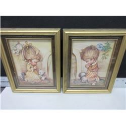 2 Paper Tole Pictures framed 8 x 10