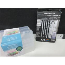 New Art 101 Draw & Sketch set & 3 piece Organizer