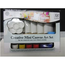 New Daler & Rowney 58 piece Mini Canvas Art Set / 6 mini easels, canvas