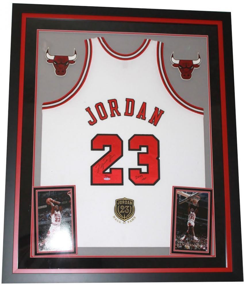 low priced 49f15 656d2 Michael Jordan Signed Bulls 36x44 Custom Framed Limited ...
