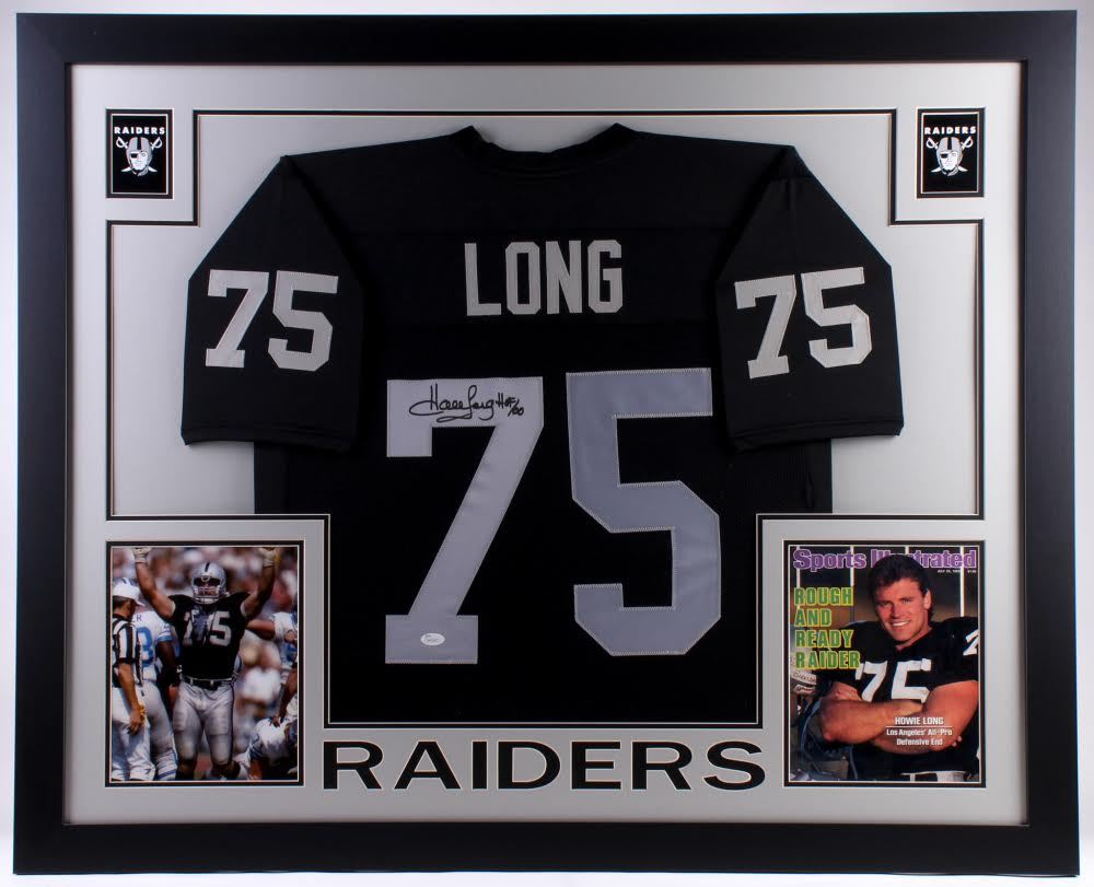 100% authentic c6d64 5ba90 Howie Long Signed Raiders 35x43 Custom Framed Jersey ...