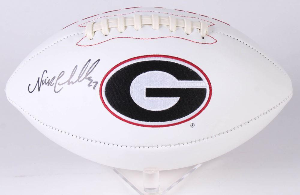 on sale a8b9a f56e9 Nick Chubb Signed Georgia Bulldogs Logo Football (JSA COA)