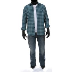 """""""Cade Yeager"""" turquoise plaid shirt and jeans ensemble from Transformers: Age of Extinction."""
