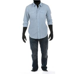 """""""Shane Dyson"""" oxford shirt and jeans ensemble from Transformers: Age of Extinction."""