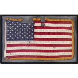 """Battle of Chicago"" framed and distressed United States flag from Transformers: Age of Extinction."