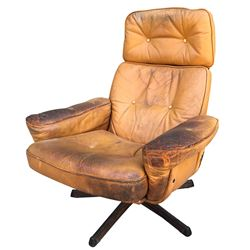 """""""Cade Yeager"""" worn brown leather chair from Transformers: The Last Knight."""