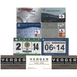 """""""Cade Yeager"""" (30+) identity and credit card props and vehicle stickers from the Transformers series"""