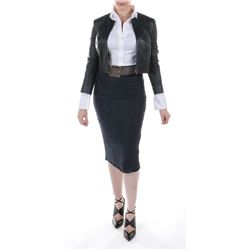 """""""Vivian Wembley"""" black leather jacket & patterned skirt ensemble from Transformers: The Last Knight."""
