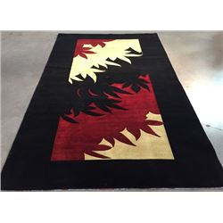 6'X9' Magnificent Modern Hand Knotted Carved Wool Rug