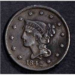 1842 LARGE CENT, VF/XF