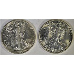 1943 & 46 WALKING LIBERTY HALF DOLLARS, CH BU