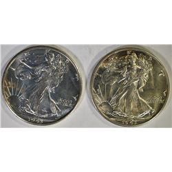 2 - 1943-S WALKING LIBERTY HALF DOLLARS