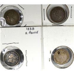 4-1838 2-PENCE BRITAIN, 3-MID/HIGH GRADE 1-damage