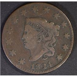 1824 LARGE CENT, CHOICE FINE KEY DATE