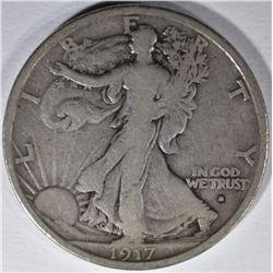 1917-S OBVERSE WALKING LIBERTY HALF DOLLAR, FINE+