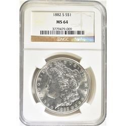 1882-S MORGAN DOLLAR NGC MS-64 BLAST WHITE
