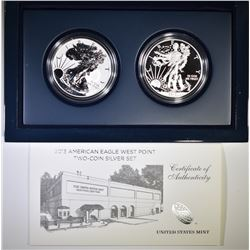 2013 WEST POINT 2 COIN SILVER EAGLE PROOF SET