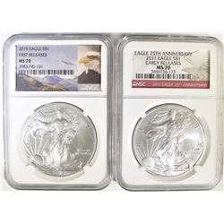 2011 & 2015 ASE BOTH NGC MS-70 EARLY RELEASE