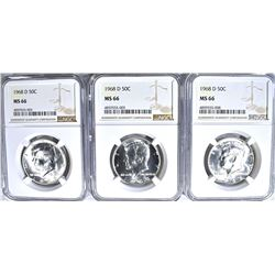 3-1968-D KENNEDY HALF DOLLARS, NGC MS-66