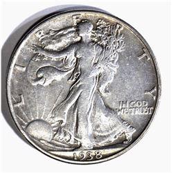 1938-D WALKING LIBERTY HALF DOLLAR, XF