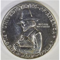 1920 PILGRIM COMMEM HALF DOLLAR, GEM BU