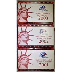 2001,02, 03 U.S. SILVER PROOF SETS ORIG PACKAGING