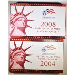 2004 & 2008 U.S. SILVER PROOF SETS ORIG PACKAGING