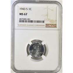 1943-S LINCOLN STEEL CENT, NGC MS-67 GORGEOUS