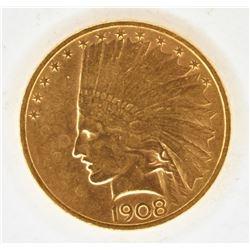 1908 $10 GOLD INDIAN NO MOTTO CH BU