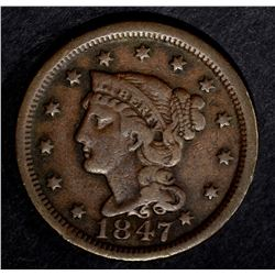 1847 LARGE CENT, VF
