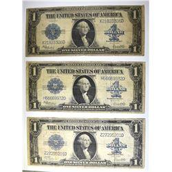 3-NICE 1923 $1.00 SILVER CERTIFICATES