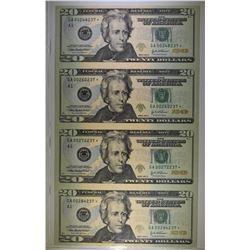 UNCUT SHEET OF 4-2004 A $20.00 STAR NOTES, CU
