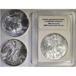 1999, 2002 & 2009 AMERICAN SILVER EAGLES