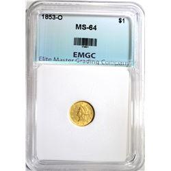 1853-O $1.00 GOLD, EMGC CH/GEM BU