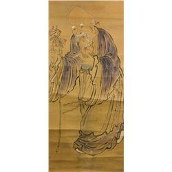Chinese Watercolor Longevity Deity on Paper Roll