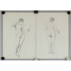 Two Graphite Sketches Nude Female Inscribed '68