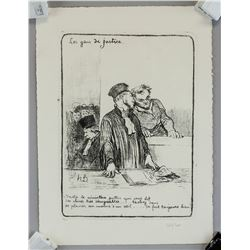 French Two Etchings Initialed Honore Daumier